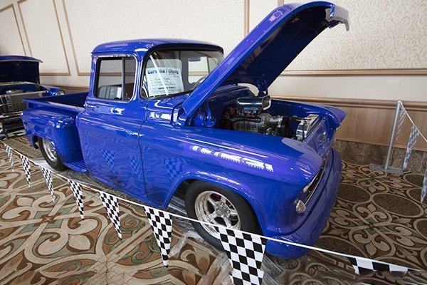 This 1956 Chevy Pickup is a great example of the Classic Chevrolet on display at the Corvette Chevy Expo in Galveston Island Texas.