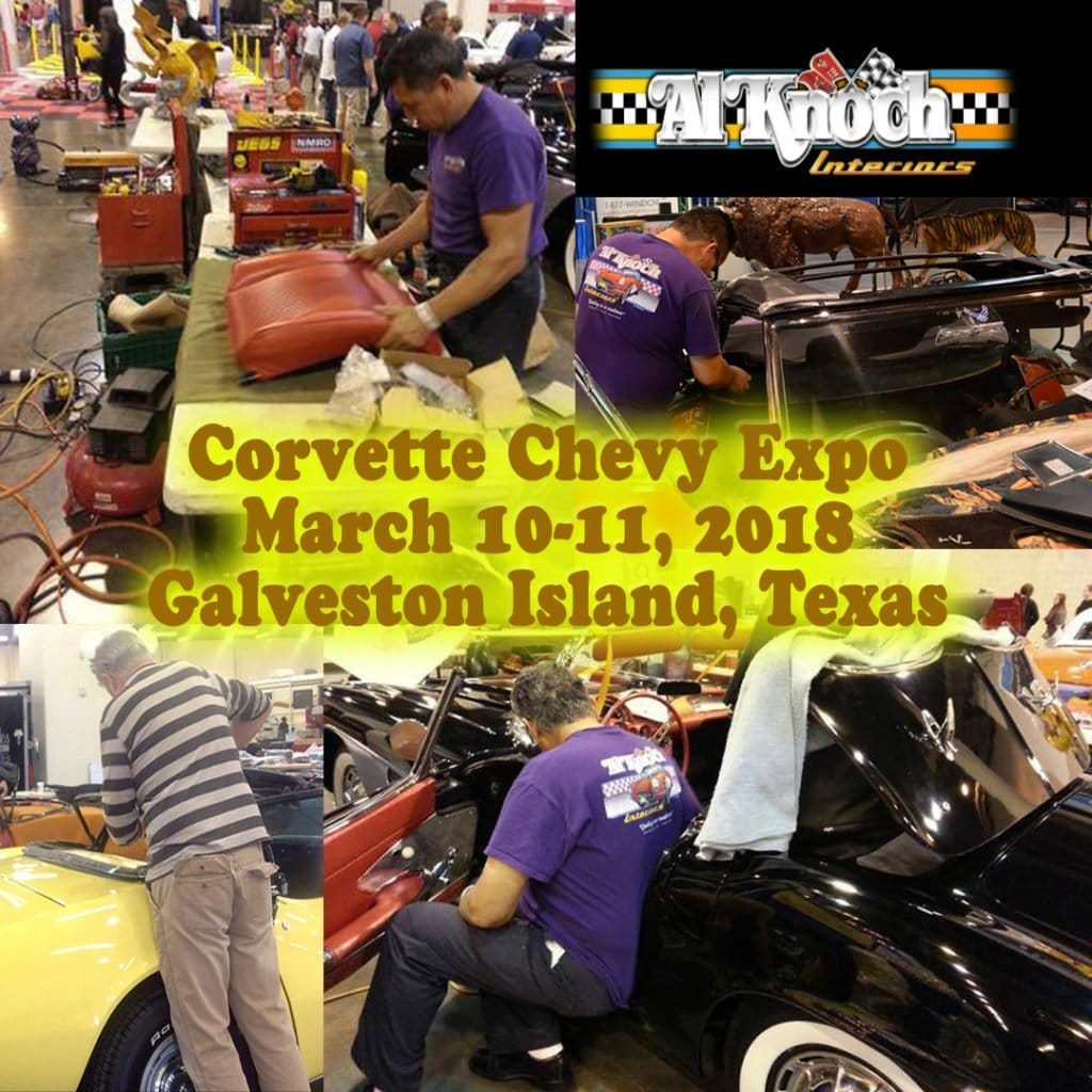 We are gearing up for the 40th Corvette Chevy Expo. Al Knoch Interiors does installs at the Corvette Chevy Expo in Galveston Island, Texas (just south of Houston). They can only do so many, so call them to reserve your spot 1.800.880.8080. They can install door panels, convertible tops, and more. To learn more about the Corvette Chevy Expo visit our website: https://corvettechevyexpo.com/