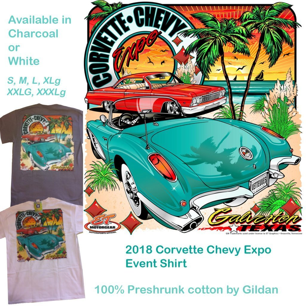 Corvette Chevy Expo Event Shirt for 2018 comes in Charcoal or White.