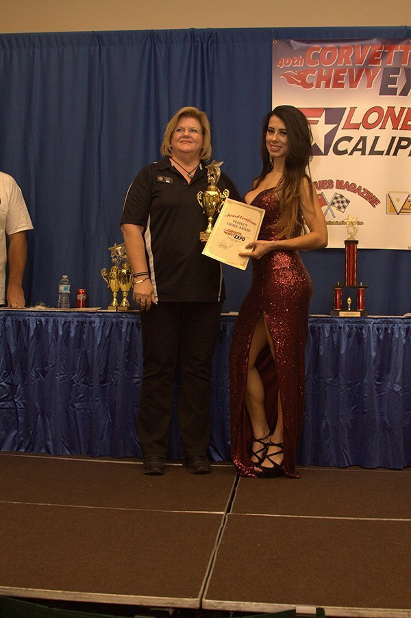 Awards Ceremony at the Chevrolet Show Cars, held at the Galveston Island Convention Center March 11, 2018. PEOPLE'S CHOICE went to Carla Comer with her 2015 Corvette Custom.