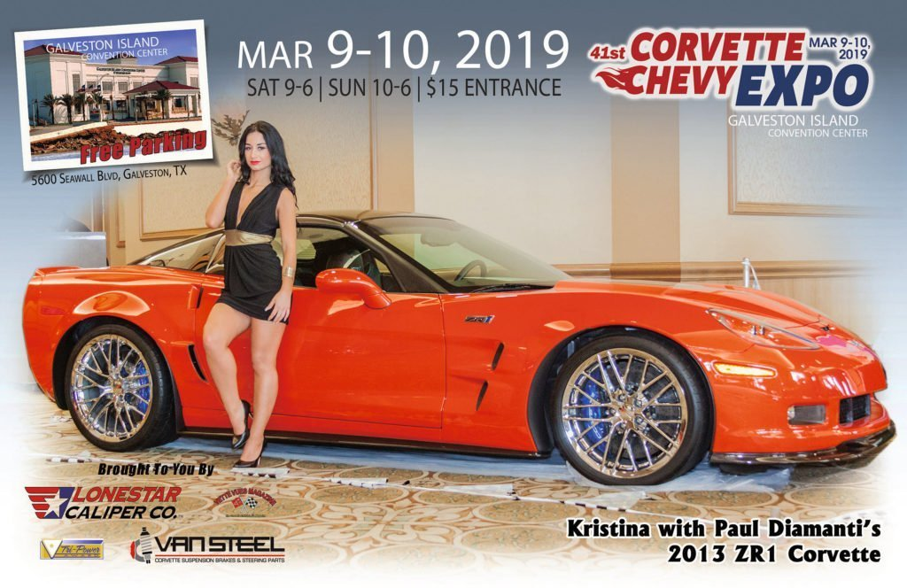 Vette Vues Magazine Racy Vues January: Kristina with Paul Diamanti's 2013 ZR1 Corvette at the Corvette Chevy Expo in Galveston Texas.
