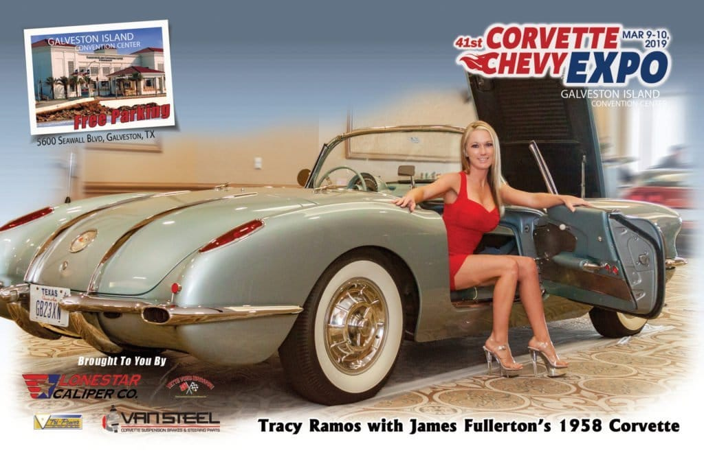 Vette Vues Magazine Racy Vues November: Tracy Ramos with James Fullerton's 1958 Corvette at the Corvette Chevy Expo in Galveston Texas.