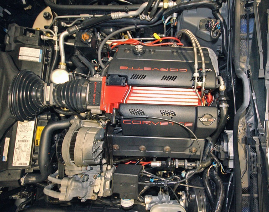 The 1996 Grand Sport option (RPO Z16) had the LT4 engine and was only available with the 6-speed manual transmission.  This one-year-only LT4 engine was conservatively rated at 330 HP.