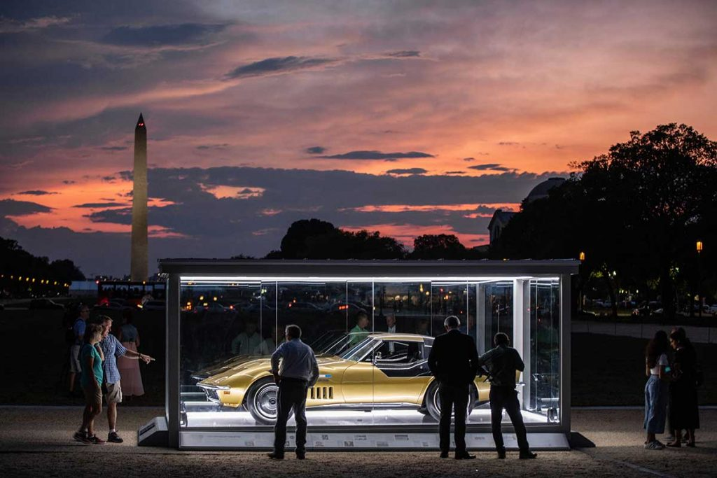 Danny Reed's Apollo 12 Corvette is the first Corvette to be named to the National Historic Vehicle Register (NHVR). Here is a night photo of the Astrovette on the National Mall in Washington DC. Photo Credits: Historic Vehicle Association